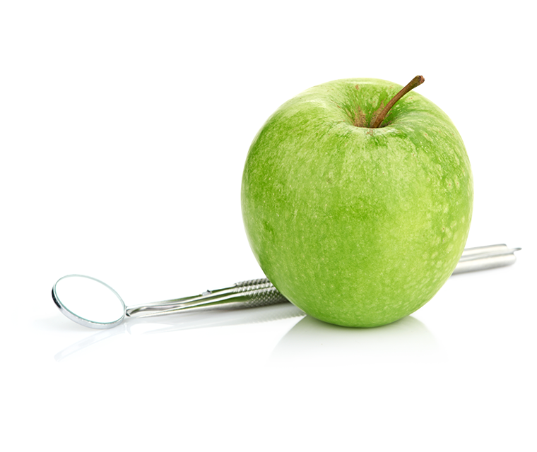 Dentalspiegel mit Apfel